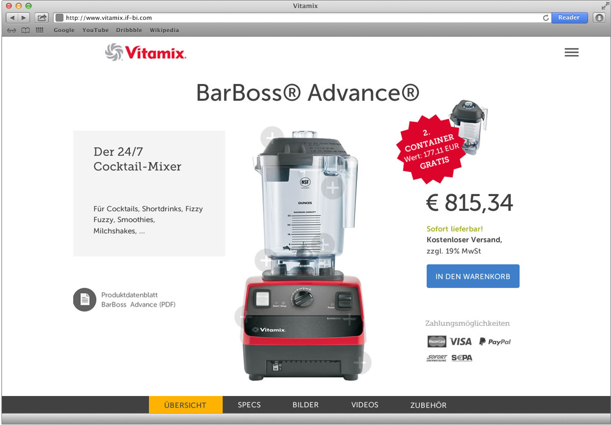Vitamix Webseite – Produktdetail 1