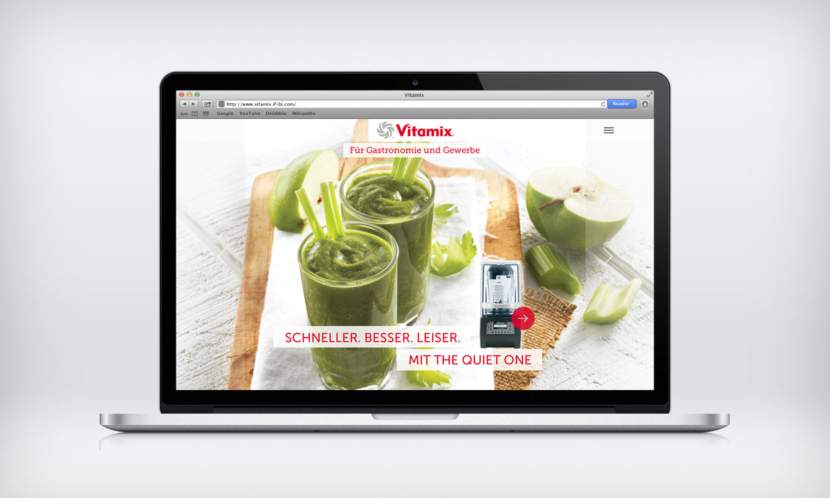 Vitamix Webseite – Startseite Macbook Pro Smoothies