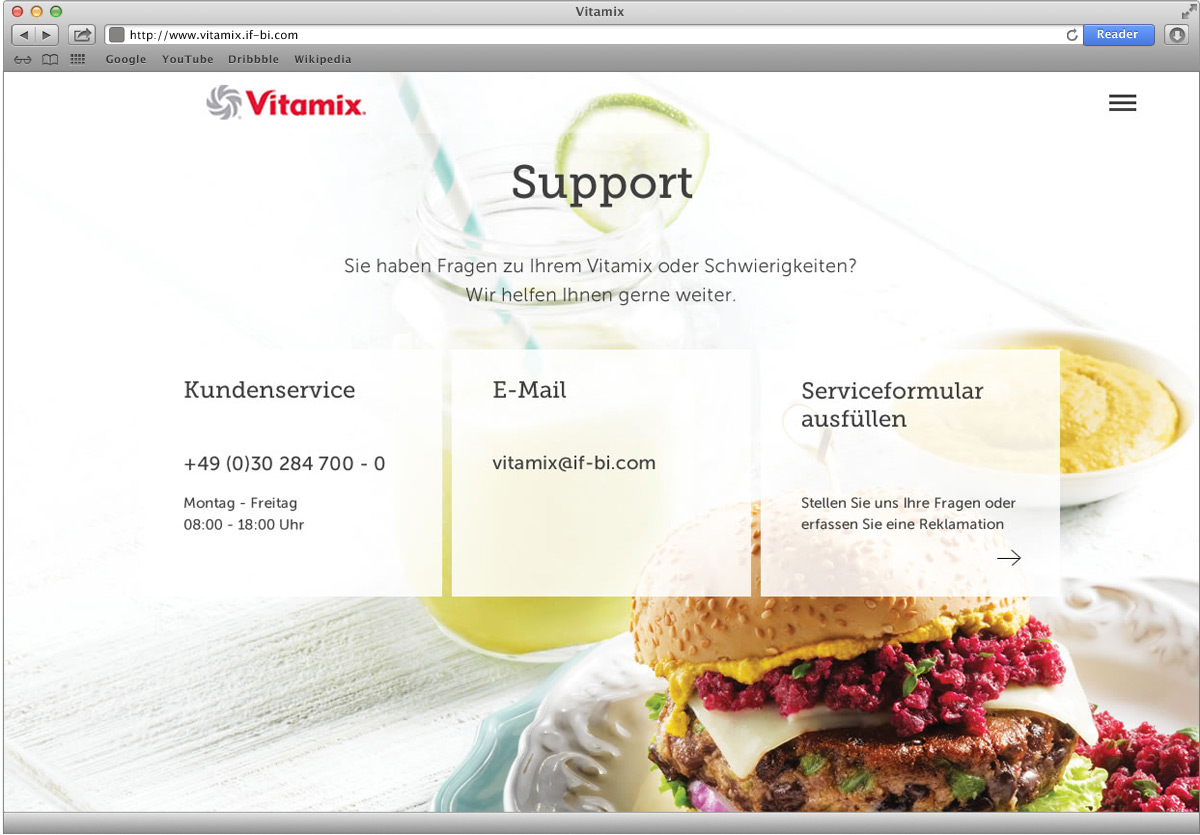 Vitamix Webseite – Support